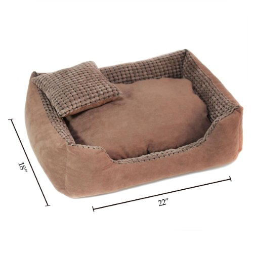 da0f40a86ee7 The Features COLORFULPETS Hair Resistant Corn Kernels Suede Dog Bed with  Removable Washable Cover Free Pillow for Medium and Large Dogs in Brown  Size M -