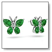 14K White Gold Pear Emerald Butterfly Earrings