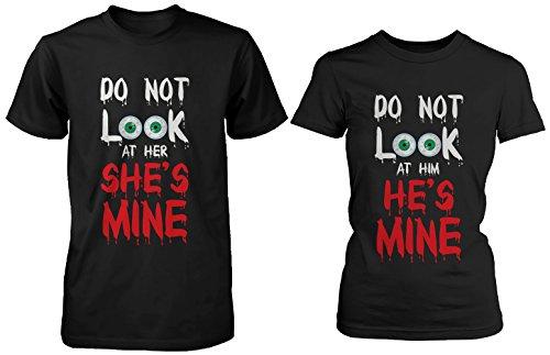Funny Halloween Horror Night Couple Shirts - Do Not Look At Mine