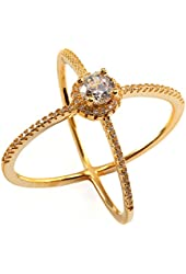 .925 Sterling Silver X Criss Cross CZ Ring Gold Tone
