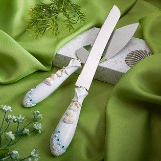 <em>Finishing Touches Collection</em> Beach Themed Wedding Cake Knife And Server Set