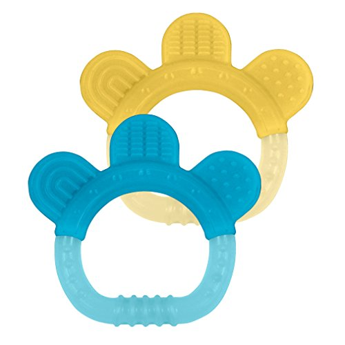 green sprouts 2 Count Sili Paw Teether, Aqua/Yellow - 1