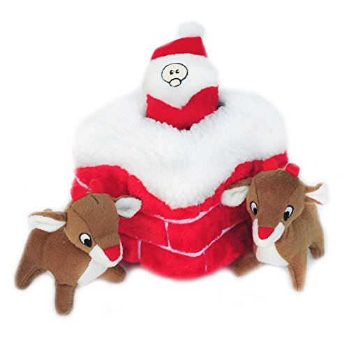 Santa in Chimney with Reindeer Dog Toy