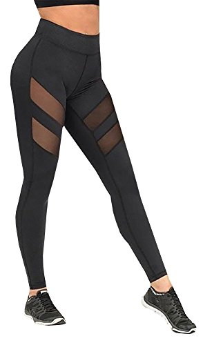 Nulibenna Women's Mesh Stretchy Workout Sportys Yoga Leggings Ninth Pants,Black 1,Small