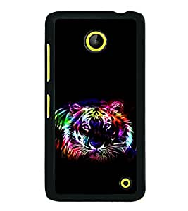 printtech Tiger Colored Streak Back Case Cover for Nokia Lumia 630