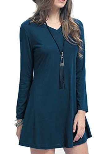 [Creti Women Fashion Crew Neck Long Sleeve Loose T Shirt Tunic Dress, XX-Large, Navy] (Pirate Coat For Sale)