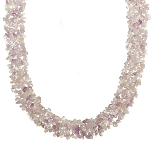 Woven Amethyst Chip Necklace with Base Metal Clasp, 18