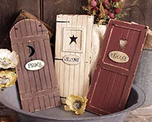 outhouse doors signs bathroom wall decor. Black Bedroom Furniture Sets. Home Design Ideas