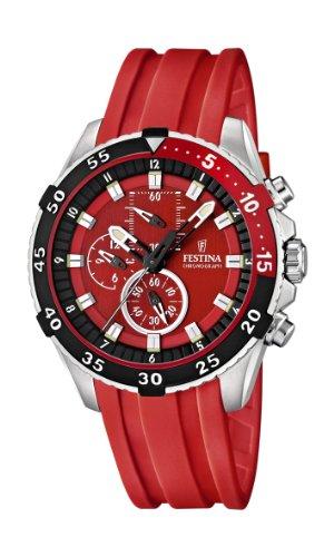 Festina F16604/4 - Reloj analógico de cuarzo para hombre, correa de plástico color rojo (cronómetro)