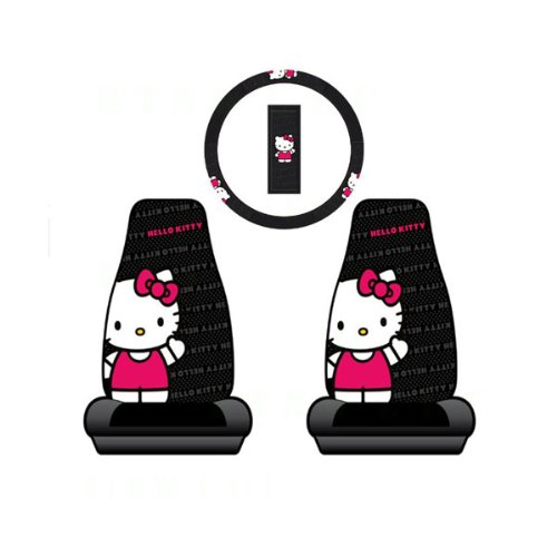 Hello Kitty 2 Car Seat Cover + Steering Wheel Cover Set- Ribbon (Hello Kitty Seats Covers compare prices)