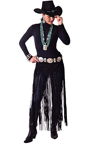Exquisite One of Kind Hand Cut and Handmade Black Suede Belt Western Wear with Long Fringe (Louis Vuitton Pants compare prices)