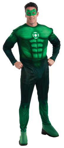 Green Lantern Deluxe Hal Jordan Costume With Muscle Chest, Green, Medium