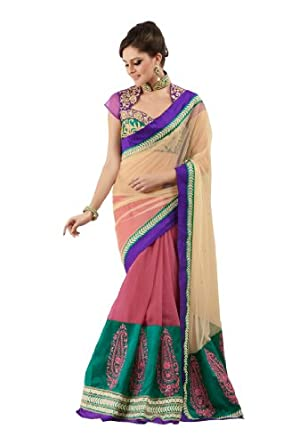 Fabdeal Women Net Embroidered Saree with Blouse Piece available at Amazon for Rs.3399