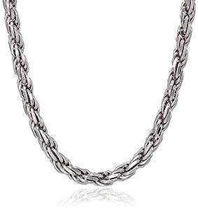 "Men's Italian Sterling Silver 4.50mm Diamond-Cut Rope Chain Necklace, 18"""