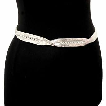 Luxury Divas Silver Snake Link Twisted Strand Rhinestone Chain Belt