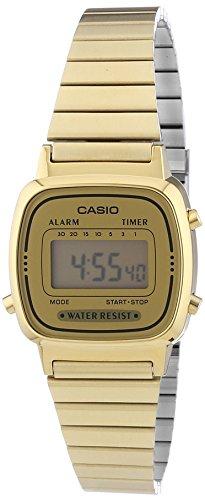 Casio LA670WEGA-9EF Orologio Digitale da Polso da Donna, Acciaio Inox, Oro