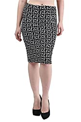 Mayra Women's Cotton Stretch Pencil Skirt (1512B11001_XL, White )