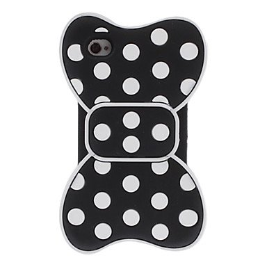 Zlxusa (Tm) 3D White Round Dots Bowknot Style Silica Soft Case For Iphone 4/4S Black