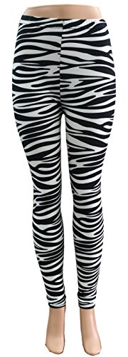 Zebra Print Stretchy Part Spandex Leggings  - Low price!