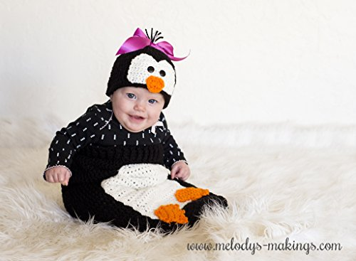 Poppy Penguin Hat and Cocoon/Blanket Set Crochet Pattern