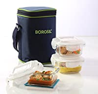 Borosil Klip N Store Microwavable Containers, 320ml, Set of 3 with Lunch Bag