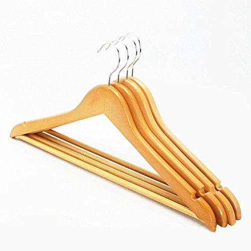 logei® 20 Grucce appendiabiti in legno appendino gruccia con asta antiscivolo per pantaloni colore naturale