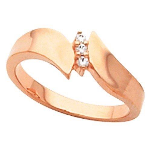 10K Rose Gold Diamond Ring - 0.05 Ct. - Size 5