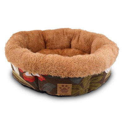 Precision Pet Shearling Round Bed, 21-Inch, Floral Simply Suede front-909448