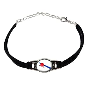 Baseball - Hat bat ball - Novelty Suede Leather Metal Bracelet - Black by Graphics and More