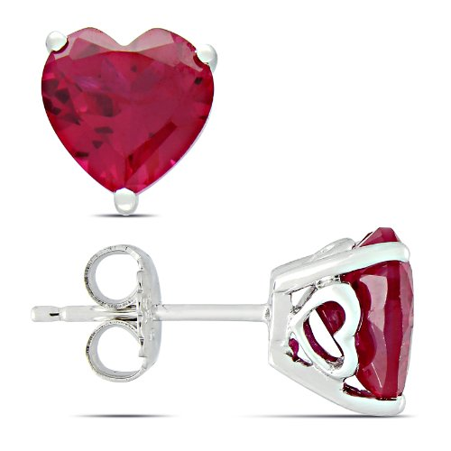 Sterling Silver 5.68 CT TGW Created Ruby Stud Earrings