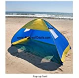 Deluxe Royal Blue Pop Up Tent Beach Cabana Tent Family Sun Shade Portable Shelter with Windows, Outdoor Stuffs