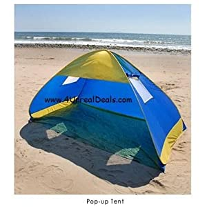 Deluxe Royal Blue Pop Up Tent Beach Cabana Tent Family Sun Shade Portable Shelter with Windows