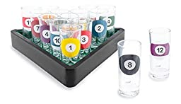 16-Piece Billiards Themed Novelty Shot Glass Bar Set with Serving Tray by Wild Eye