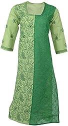 ALMAS Lucknow Chikan Womens Cotton Regular Fit Kurti (Light Green)