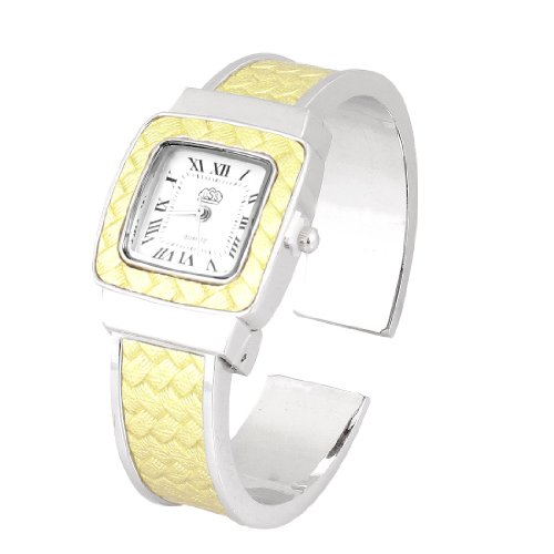 Ladies Square Dial Light Yellow Faux Leather Coated Alloy Band Bracelet Watch