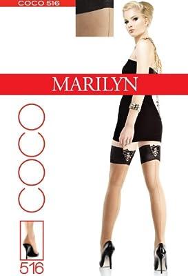 MARILYN, COCO-516, stylische halterlose Strümpfe in Netzoptik mit Naht, 10cm Haftrand und hübschen Schleifenbänder, 20 Denier