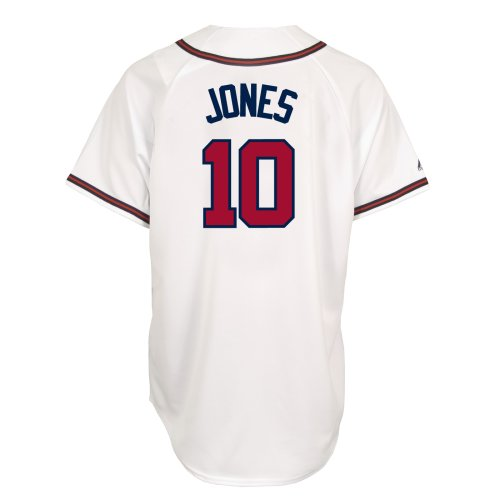 MLB Chipper Jones Atlanta Braves Replica Home Jersey (Large) , White\Red