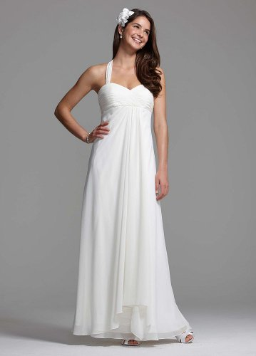 David's Bridal Wedding Dress: Halter Chiffon A-Line with Center Front Draping Style BR1016