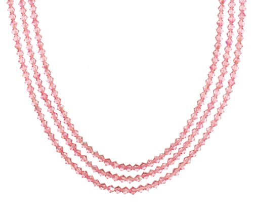 Sterling Silver Swarovski Elements Rose Colored 4mm Beaded 3-Row Necklace