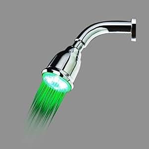 SODIAL(TM) Pomme de douche pour la salle de bains LED En couleur variable en fonction du changement de la temperature d'eau