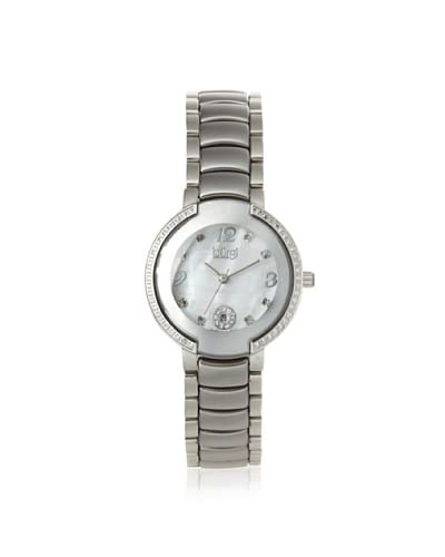 Burgi Women's BUR072SL Silver/White Diamond Ceramic Watch