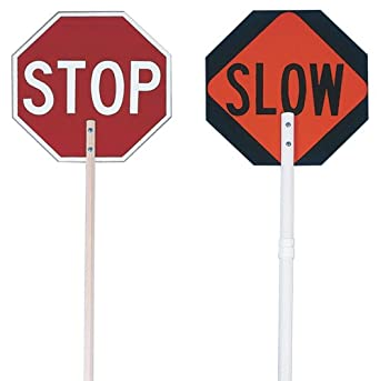 "Jackson Safety 17503 ABS Plastic Non-Reflective Paddle Sign Assembly Kit, Legend ""Stop/Slow"", 24 Size"
