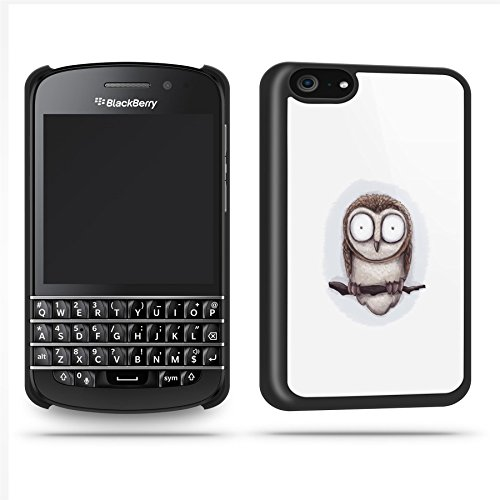 Owl Branch Cute Big Eyes Phone Case Shell For Blackberry Q10 - Black