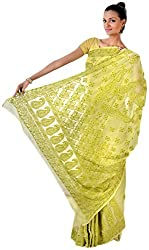 knool Women's Georgette Saree With Unstitched Blouse Piece (Mehndi Green) (CGSF02)