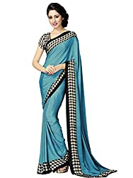 Look N Buy Latest Blue & Black Printed Saree