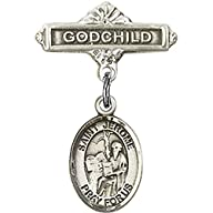 Sterling Silver Baby Badge with St. Jerome Charm and Godchild Badge Pin 1 X 5/8 inches