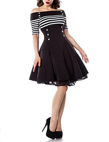 schulterfreies-vintage-kleid-mit-dekorativen-knopfen-und-kurzen-armeln-schwarz-weiss-stripe-gr-m