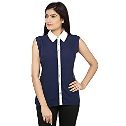 Bhama Couture White & Blue Casual Top