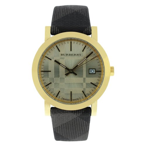 Burberry BU1874 Ladies Watch Shimmer Gold Tone Stainless Steel Case Gray Dial Cloth Strap Date Display