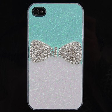 Grill Elegant Bowknot Pattern Back Case for iPhone 4/4S(Assorted Color) , Blue image